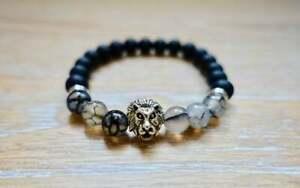Black Tourmaline Silver Lion Bracelet Meditation Energy Reiki Natural GemStone