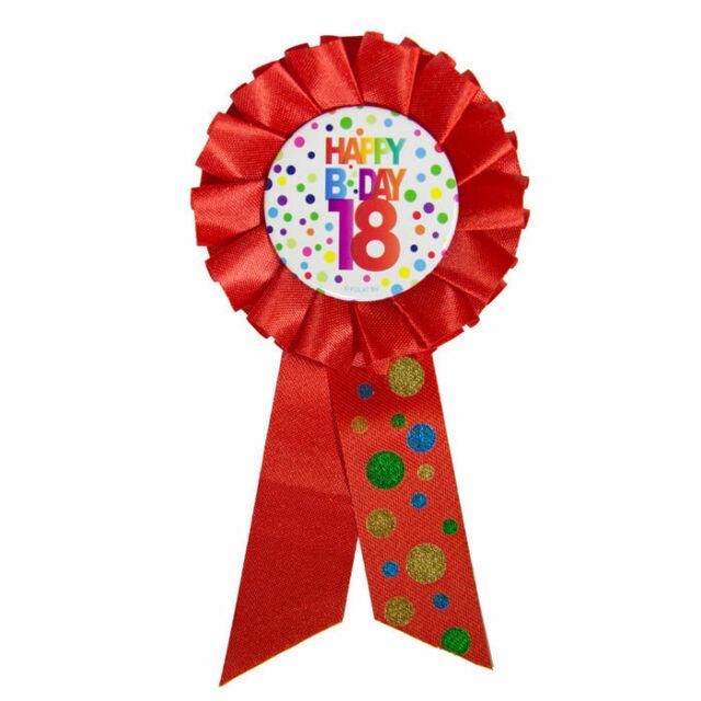 Geburtstag Satin Brosche weiß gold 8 x 15cm Party Jubiläum Anstecker Rosette 18