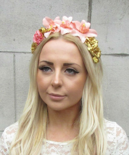 Peach Pink Gold Orchid Rose Flower Garland Headband Hair Crown Festival Vtg 2204