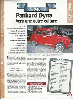 Rispettoso Voiture Panhard Dyna 100 Fiche Technique Auto 1946 Collection Car