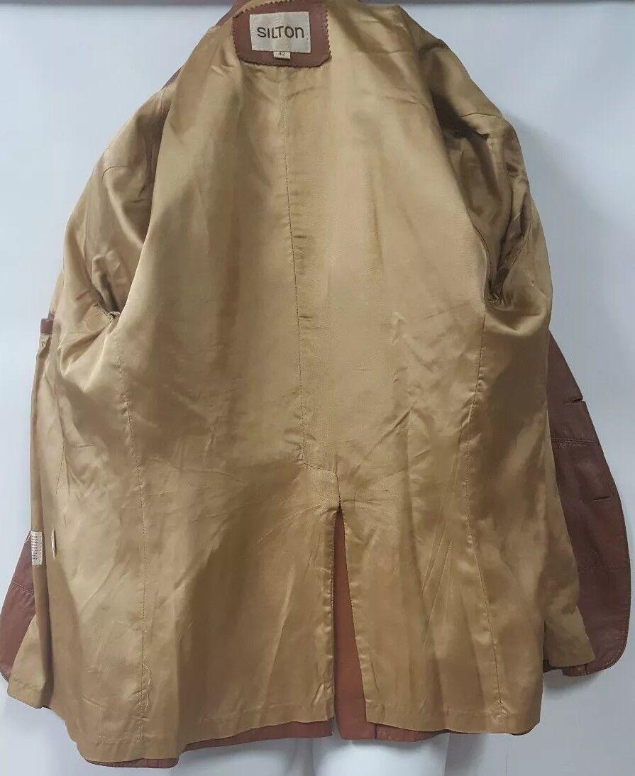 SILTON  Brown Leather 70s  Blazer Sport Coat Siz… - image 5
