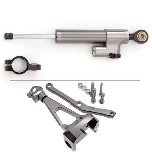 Gray/&Black Steering Damper Stabilizer/&Bracket Kit Mount For YAMAHA MT-09 13-2015