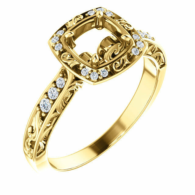 14K Yellow gold 6mm Round Sculptural-Inspired Halo-Style Semi Mount Bridal Ring