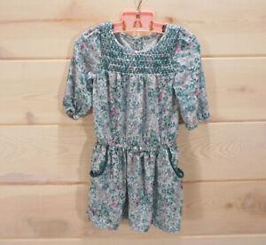 Oshkosh-Genuine-Kids-Girl-039-s-Sz-2T-3-4-Sleeve-Floral-Dress-Pockets-Green-Floral