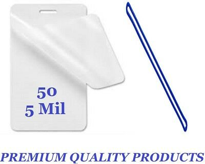 """50 Each LUGGAGE TAG Laminating Pouches 2-1//2 x 4-1//4 5 Mil 6/"""" Blue Loops"""