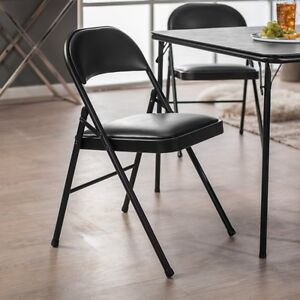 Metal Folding Chairs 4 Pack Black Vinyl Padded Home
