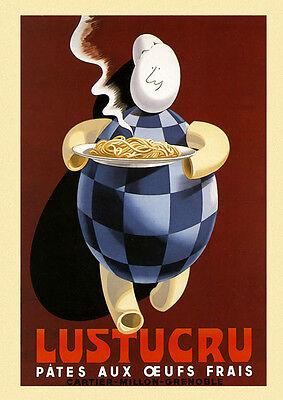 Eggs Spaghetti Pasta Plate Italian Italy Food Vintage Poster Repo FREE S//H