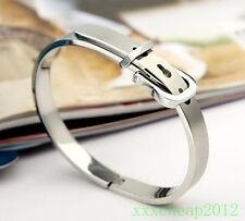 Charm 316L Stainless Steel Belt buckle Bangle Bracelet Gift SK13