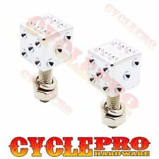 2 Chrome Real Dice Clear Dot License Plate Frame Tag Bolts Screws for Harley