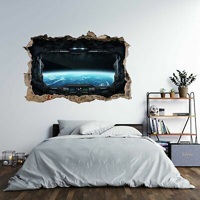Spaceship Earth Cosmos 3d Hole In The Wall Effect Wall Sticker Art Decal Mural Ebay