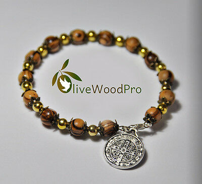 OLIVE WOOD religious bracelet HOLY LAND BENEDICT HAND made JERUSALEM christian