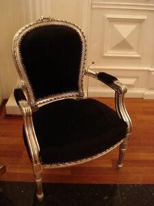 Wunderschoner Barock Sessel Holz Silber Antik Stuhl Farbe