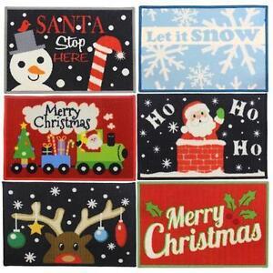 Image Is Loading CHRISTMAS 6 DESIGNS MACHINE WASHABLE DOOR MATS FLOOR