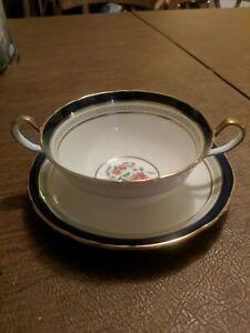 Aynsley-Wadsworth-Bone-China-Double-Handle-Cup-and-Saucer-Cobalt-Blue-Floral