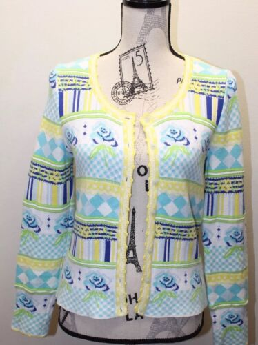 Kenzo Studio Women Cardigan Sweater Lime Yellow Bl