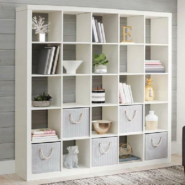 Large White Wall Bookcase 25 Cube Unit Storage Display Stand Room Divider 71 46 Ebay