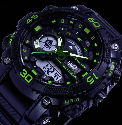 Q/&Q by Citizen AD Digital Herren Armband Uhr Grün Schwarz Chronograph 10 Atm