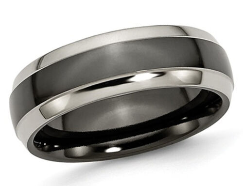 Details about  /Mens 7mm Two-tone Titanium Wedding Band
