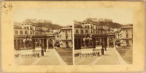Italia-Napoli-Place-Statue-c1865-Foto-Stereo-Vintage-Albumina