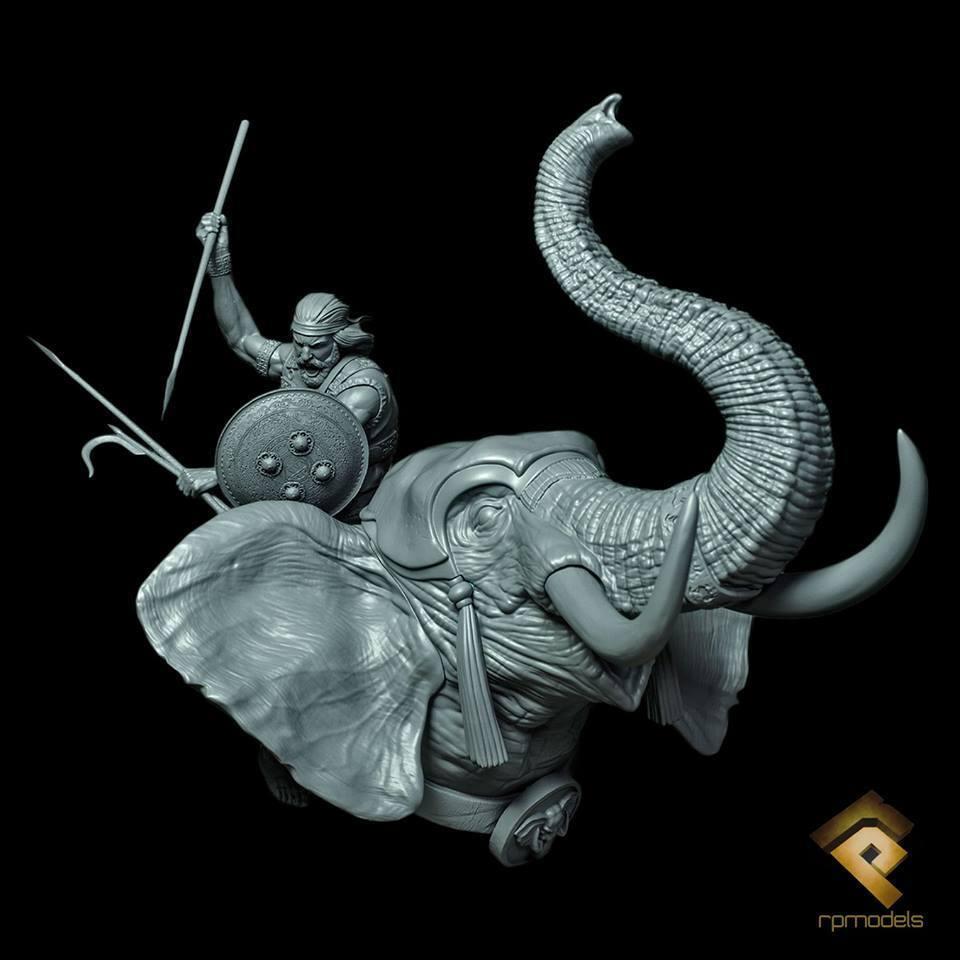 RP Modelos cartaginesa guerra Elefante sin pintar KIT de 1/12th Busto Ltd Edition