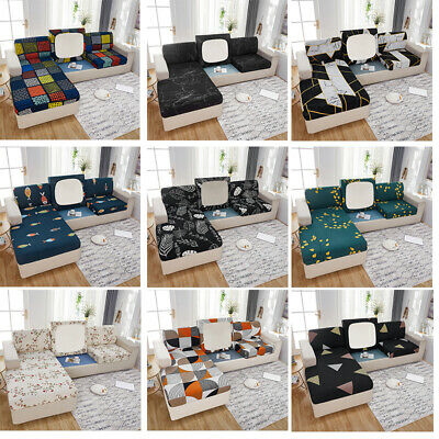 Fitted Sofa Sectional Covers L Shape Cushion Slipcover 2 3 Seater Printed Lycra     eBay
