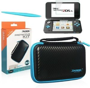 Dobe New 2DS XL Travel Carrying Protector Case 3-in-1 Protective Kit Black