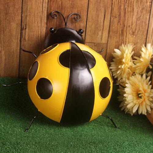 Ladybird Insect Ornament Home Garden Decor Wall Hanging Yellow Craft 16cm