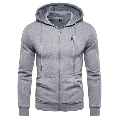 Men/'s Premium Athletic Soft Sherpa Lined Fleece UP Hoodie Sweater Jacket US Hot