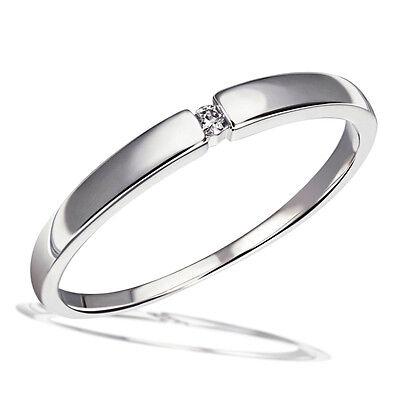 Goldmaid Ring Solitär Spannfassung 333 Weissgold 1 Brillant 0,03 ct.