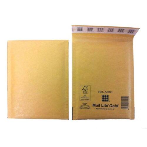 Mail Lite SEALED AIR Taille A//000 rembourré Enveloppes Boîte de 100-Or