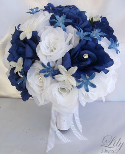 17pcs Wedding Bridal Bride Bouquet Flowers Decorations Package ROYAL BLUE WHITE