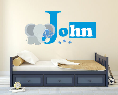 Elephant Name Wall Decal Personalized Name Decal Nursery Vinyl Decal Sticker