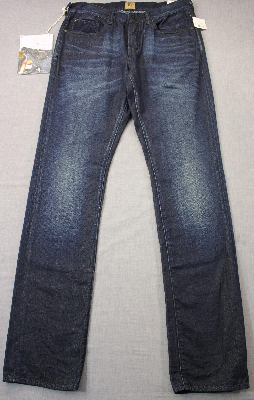 PRPS Demon Mens Monoceros Indigo bluee Slim Fit Straight Denim Jeans NWT 30 x 34