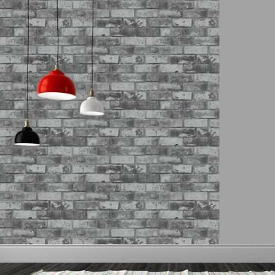 Slate Grey Wallpaper Smooth Finish Realistic Brick Feature 3D Effect Rustic 6753