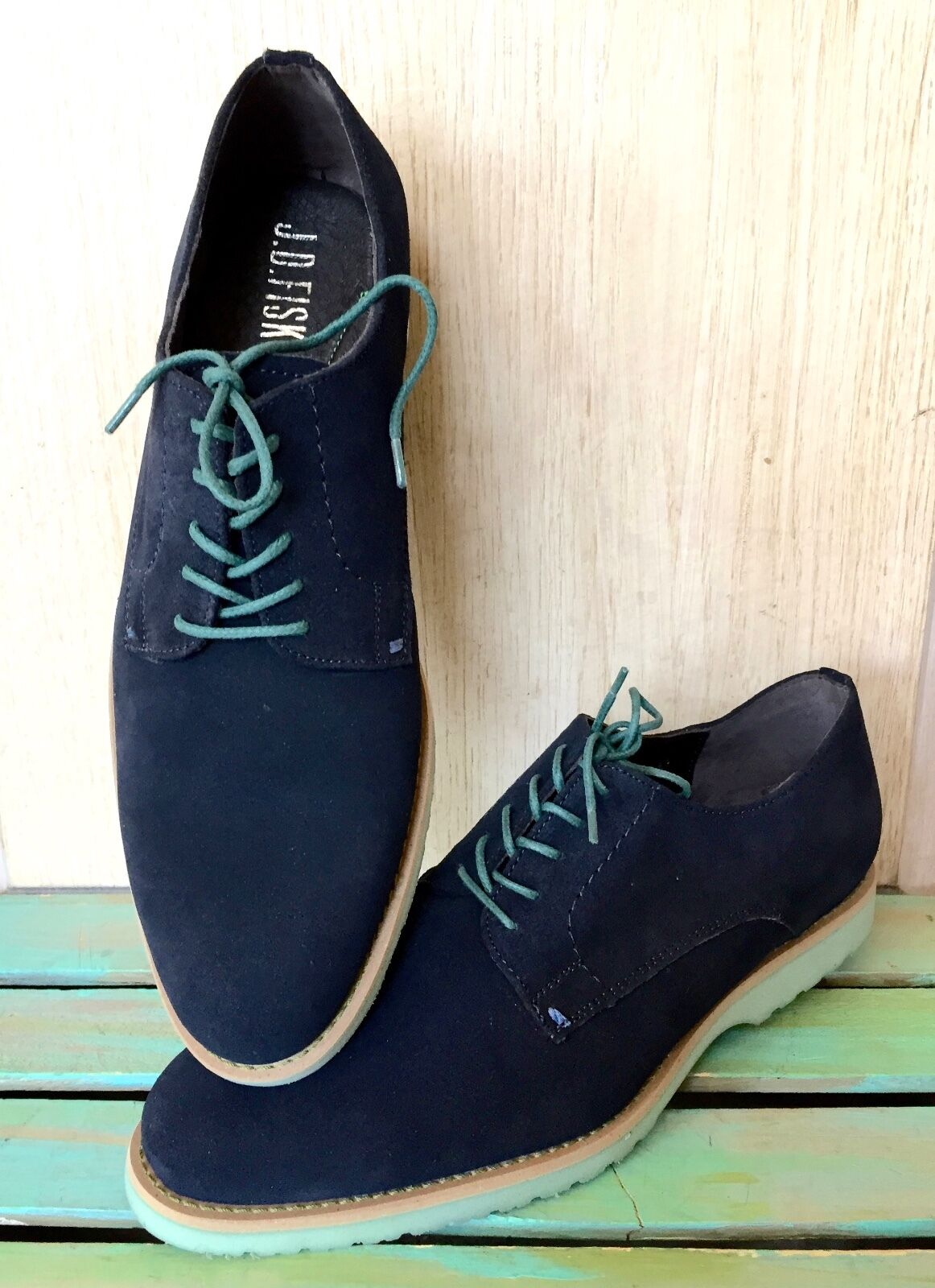 NIB J D Fisk Navy Suede Turquoise Rubber Sole Victor Lace Up Oxford Scarpe 9.5