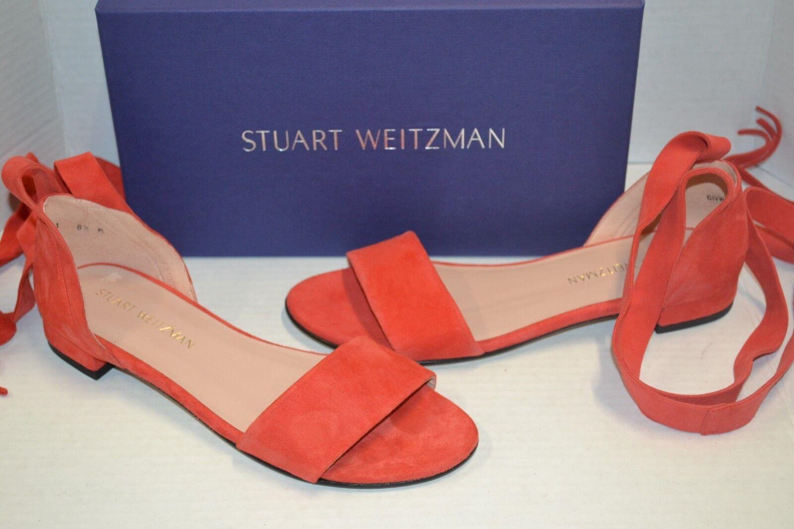 Stuart Weitzman Corbata pimientos rojo gamuza 7 M Con Con Con Cordones Sandalias Planas  395 España  nuevo estilo