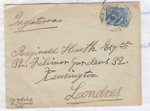 Espana-1913-cubrir-a-Londres-Historia-Postal-J4170