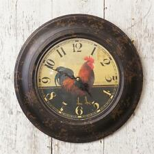 New French Country Rustic Primitive Chicken Black ROOSTER CLOCK Wall Hanging