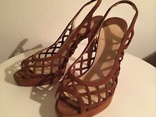 CHRISTIAN LOUBOUTIN Brown Leather Slingbacks Suede Shoes Heels Size 37
