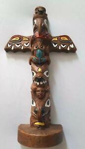 Edmund-Wolf-Jr-Designs-Hand-Painted-Totem-Art-Figure-8-5-034-Animals-Brown-A