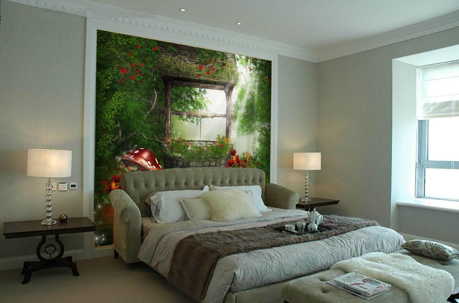 3D Pilz Blaumen Fenster 755 Tapete Wandgemälde Tapete Tapeten Bild Familie DE | Niedriger Preis und gute Qualität  | Die Farbe ist sehr auffällig  | Niedriger Preis und gute Qualität