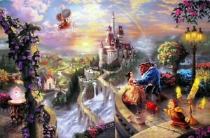 Thomas-Kinkade-Beauty-and-the-Beast-Falling-in-Love-18x27-G-P-Disney-Lithograph