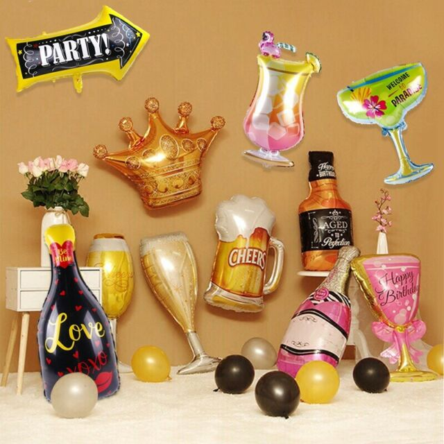 Champagne Cup Beer Bottle Balloons Hawaiian Summer Party Supply Wedding Decor