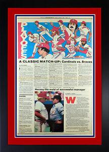 1982 St Louis Cardinals/Braves Playoff Preview Globe Democrat Newspaper Framed!