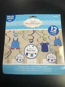 SHOWER-WITH-LOVE-BOY-HANGING-SWIRL-DECORATIONS-12pc-Baby-Party-Supplies-Foil
