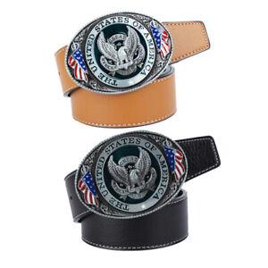 Soaring-Eagle-USA-Flag-Belt-Buckle-Cowboy-Motorcyclist-Genuine-Leather-Belt