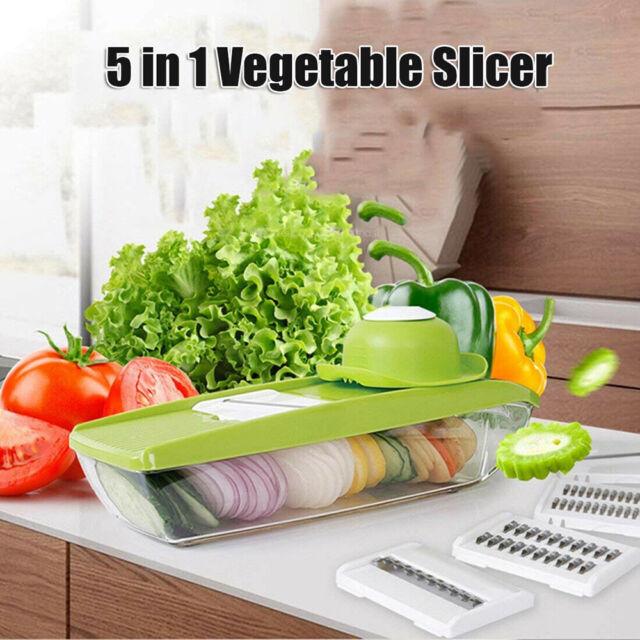 5 in 1 Mandolin Vegetable Food Slicer Julienne and  Container - Peel Cut Slice