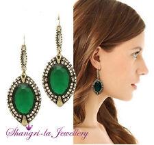Vintage ANTIQUE Stl Gold Emerald Green Stone CRYSTAL Fashion Drop Earrings K517