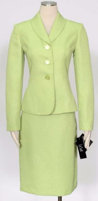 Le Suit 8580 Womens Yacht Club Green Shimmer 2pc Pencil Skirt Suit