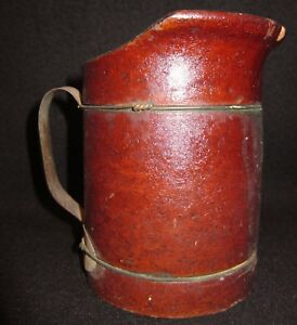 Vtg 1880s Antique Wood Fiber Pint Pitcher United Indurated Fibre Co Lockport NY
